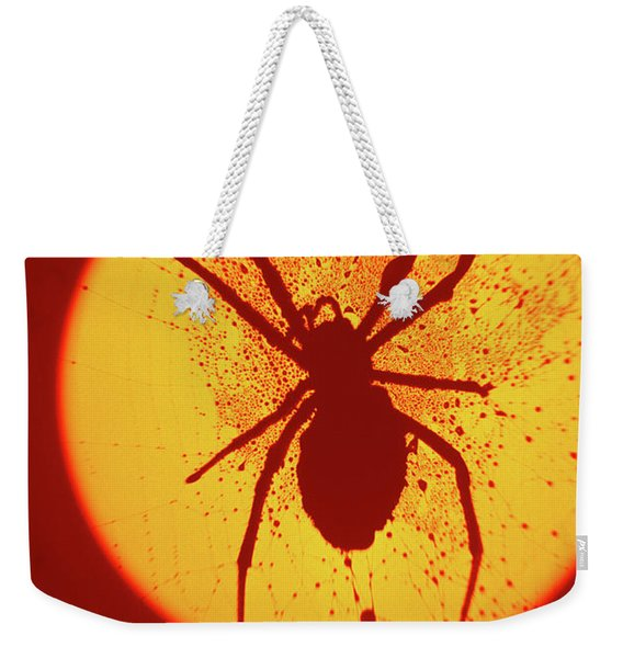 1970s Spider Silhouette Image On Yellow Weekender Tote Bag