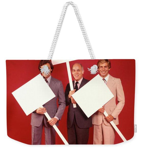 1970s Three Smiling Businessmen Men Weekender Tote Bag
