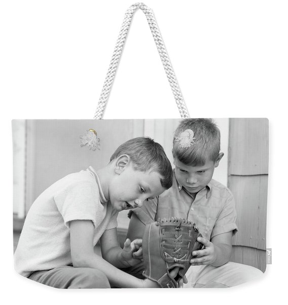 1970s Two Boys Seriously Inspecting New Weekender Tote Bag