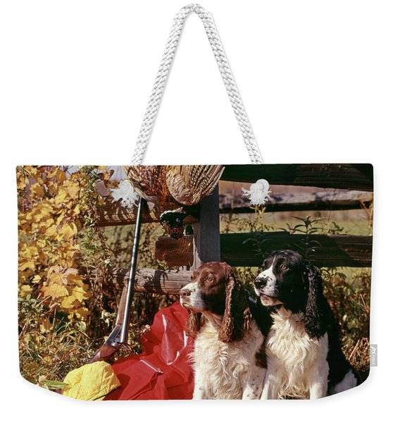1970s Two Springer Spaniel Dogs Weekender Tote Bag