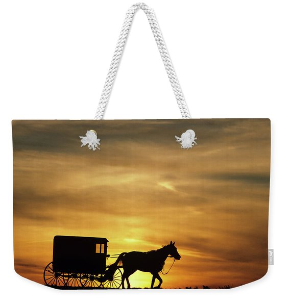 1980s Amish Horse And Buggy Silhouetted Weekender Tote Bag