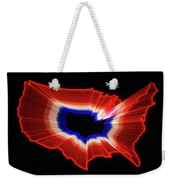 1980s Luminous Zoomed Red White Weekender Tote Bag