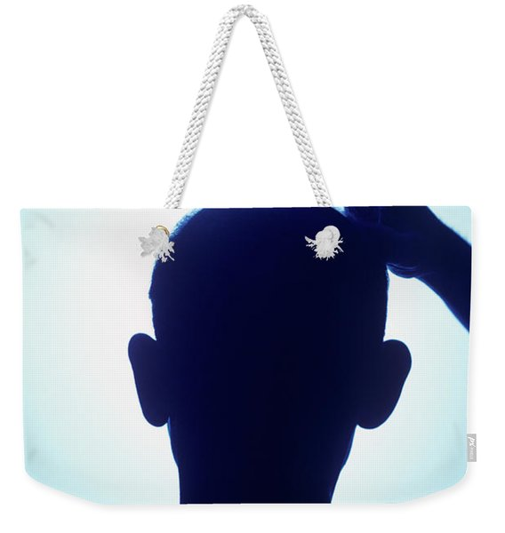 1990s Silhouette Bald Man Scratching Weekender Tote Bag