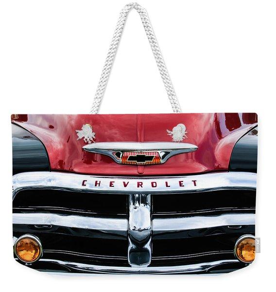 1955 Chevrolet 3100 Pickup Truck Grille Emblem Weekender Tote Bag