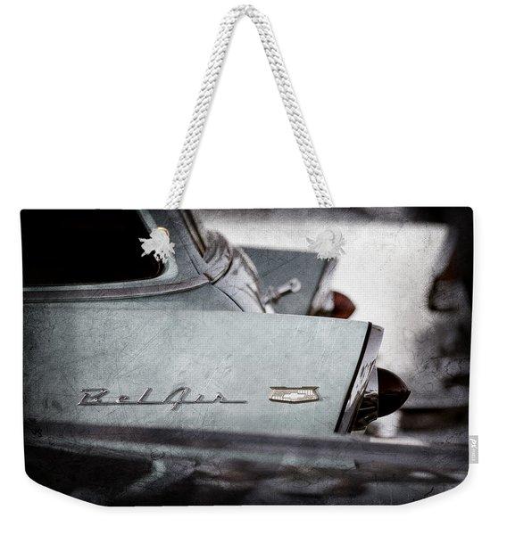 1956 Chevrolet Belair Nomad Rear End Emblem Weekender Tote Bag