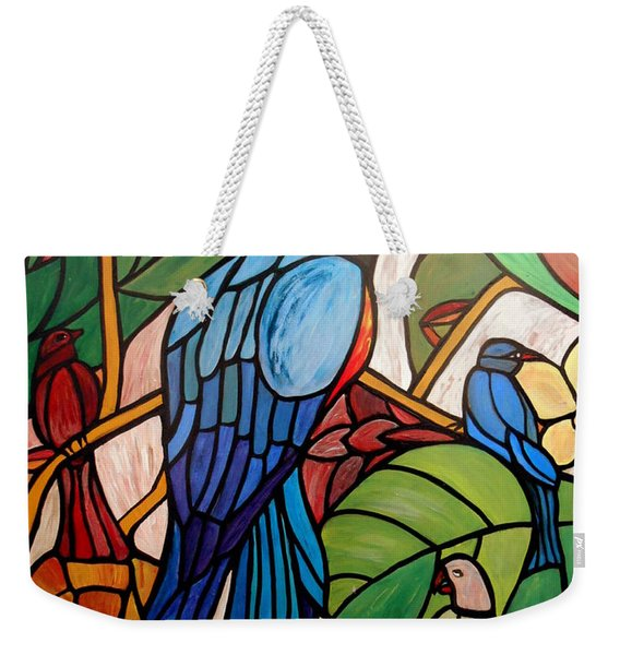 Weekender Tote Bag featuring the painting 3 Birds On A Vine by Cynthia Amaral