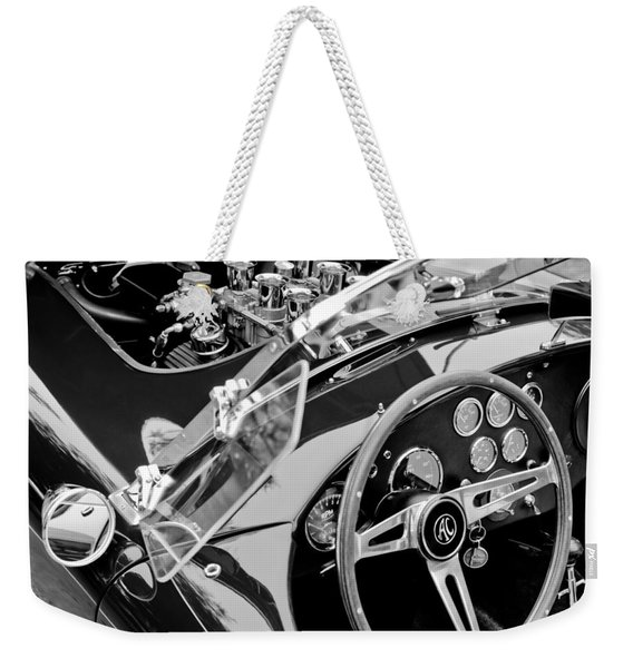 Weekender Tote Bag featuring the photograph Ac Shelby Cobra Engine - Steering Wheel by Jill Reger