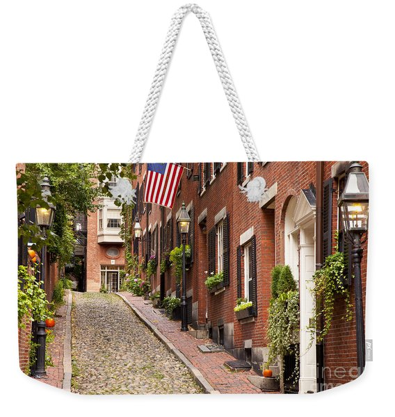 Weekender Tote Bag featuring the photograph Acorn Street Boston by Brian Jannsen