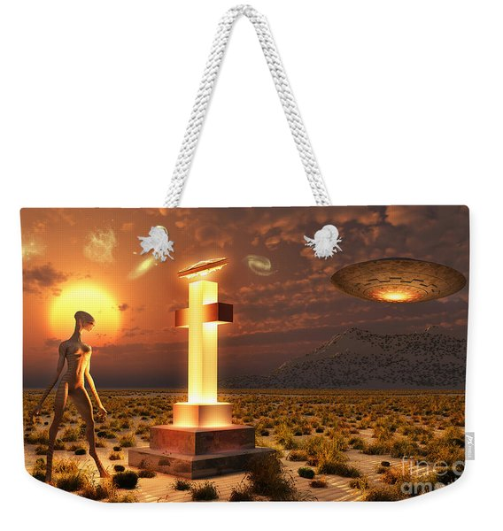 An Alien Returning To The Famous Crash Weekender Tote Bag