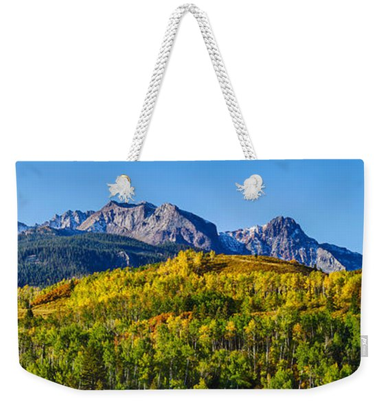Aspen Trees With Mountains Weekender Tote Bag