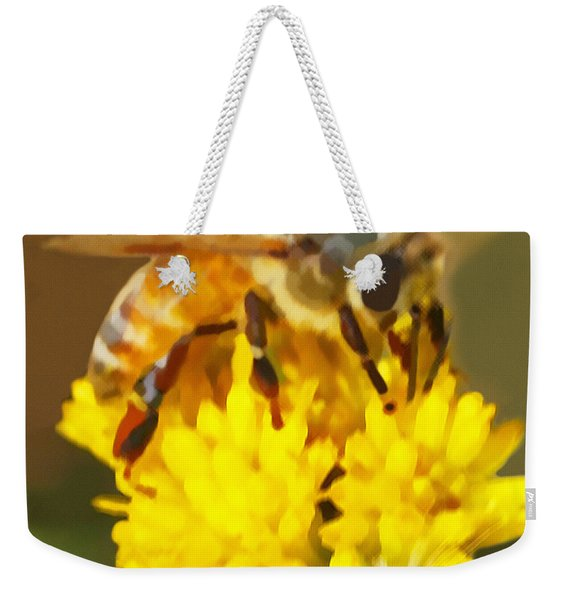 Weekender Tote Bag featuring the painting Bee On A Yellow Flower by Marian Cates