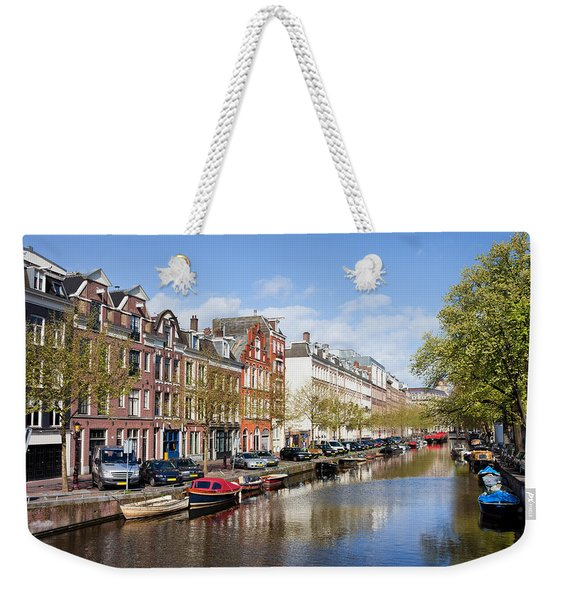 Boats On Amsterdam Canal Weekender Tote Bag