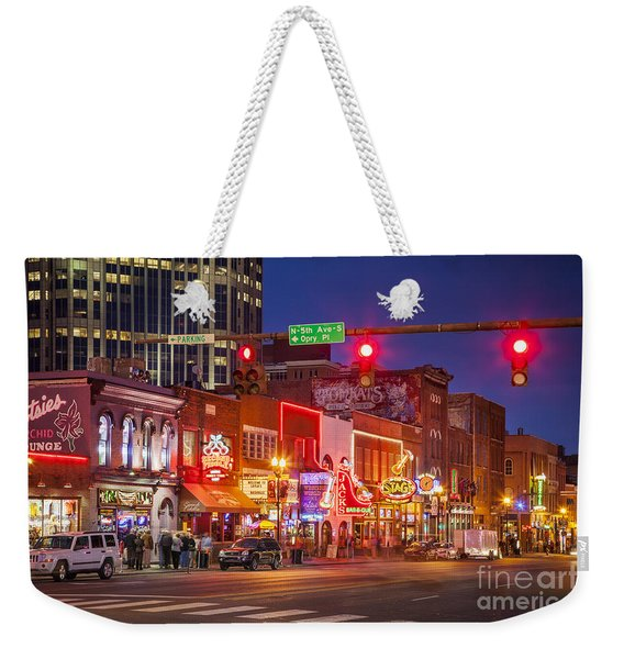 Weekender Tote Bag featuring the photograph Broadway Street Nashville by Brian Jannsen