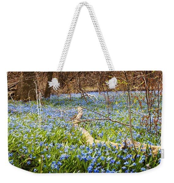 Carpet Of Blue Flowers In Spring Forest Weekender Tote Bag