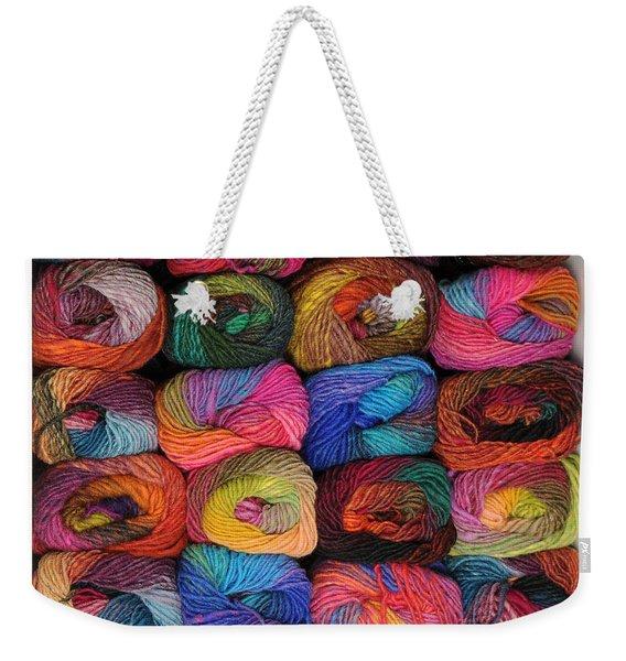Colorful Knitting Yarn Weekender Tote Bag