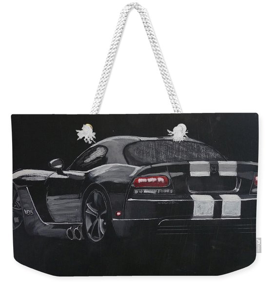 Weekender Tote Bag featuring the painting Dodge Viper 1 by Richard Le Page