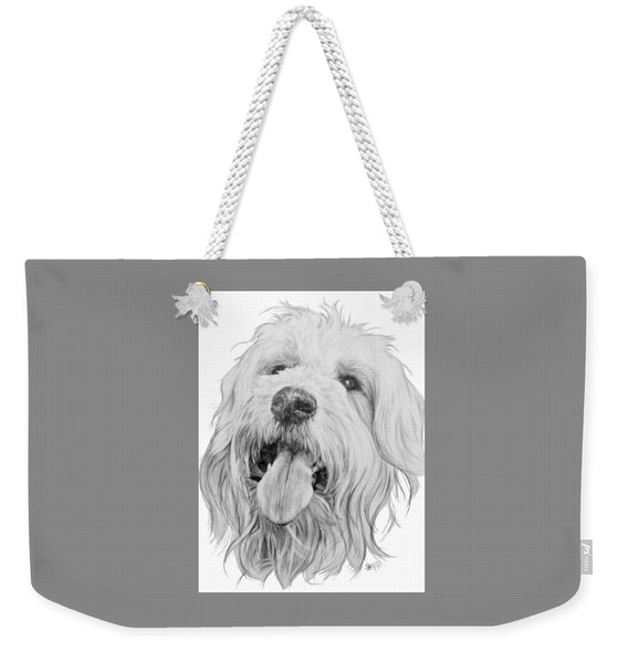 Weekender Tote Bag featuring the drawing Goldendoodle by Barbara Keith