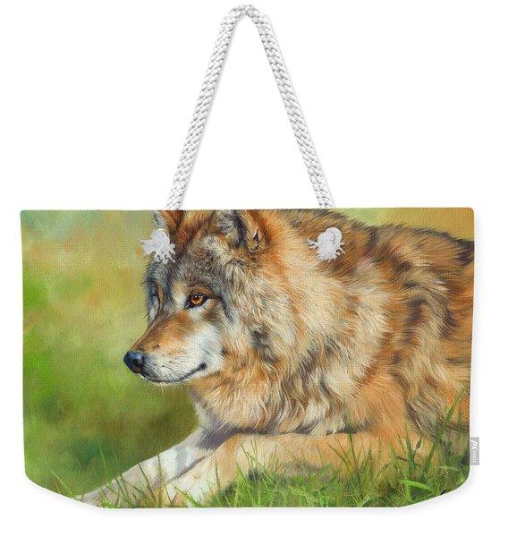 Grey Wolf Weekender Tote Bag