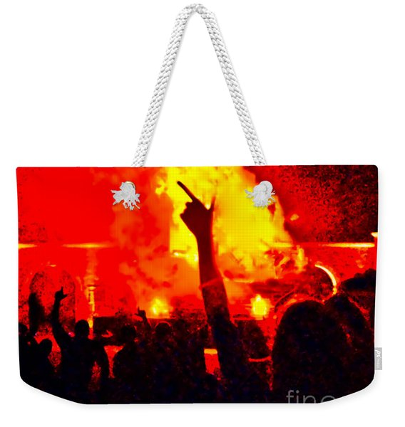 Weekender Tote Bag featuring the photograph Guns-up Salute by Mae Wertz