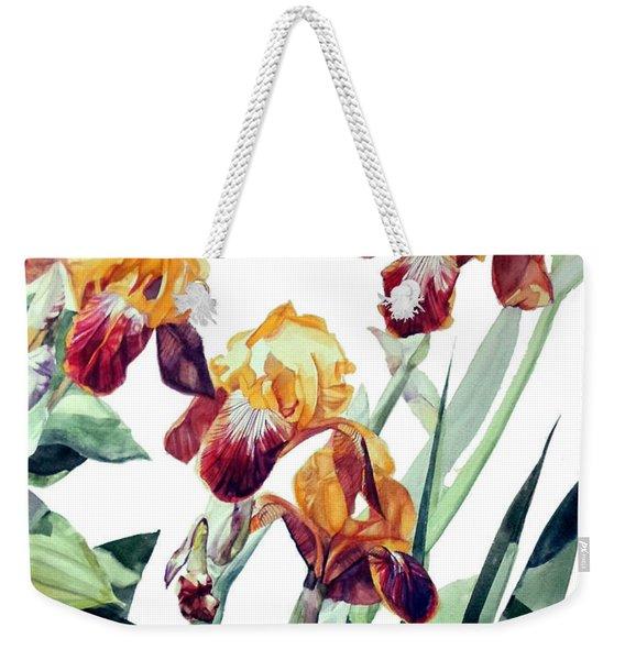 Watercolor Of Tall Bearded Irises I Call Iris La Vergine Degli Angeli Verdi Weekender Tote Bag