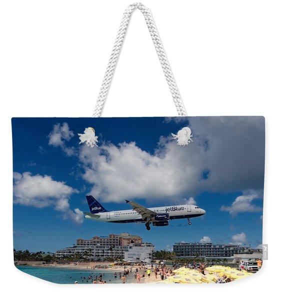 jetBlue landing at St. Maarten Weekender Tote Bag