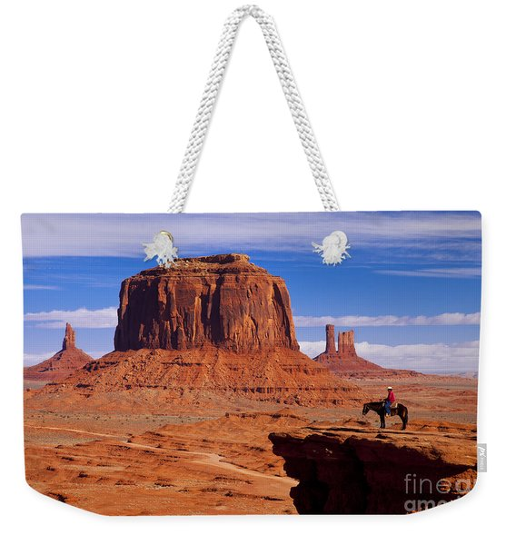 Weekender Tote Bag featuring the photograph John Ford Point Monument Valley by Brian Jannsen