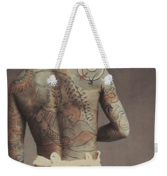 Man With Traditional Japanese Irezumi Tattoo Weekender Tote Bag