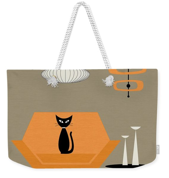 Weekender Tote Bag featuring the digital art Mod Chair In Orange by Donna Mibus