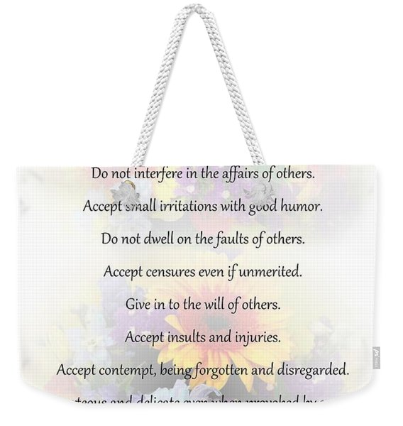 Mother Theresa's Rules For Humility Weekender Tote Bag