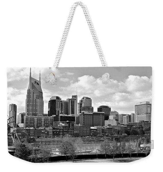 Nashville Black And White Weekender Tote Bag