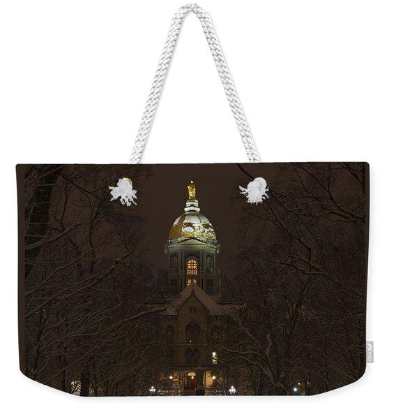 Notre Dame Golden Dome Snow Weekender Tote Bag