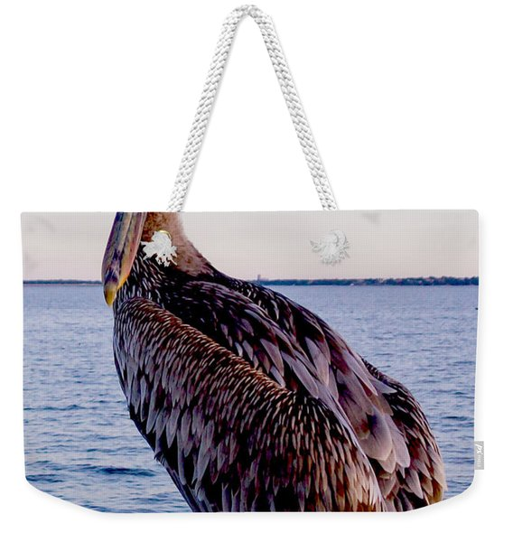 Pelican At Port Weekender Tote Bag