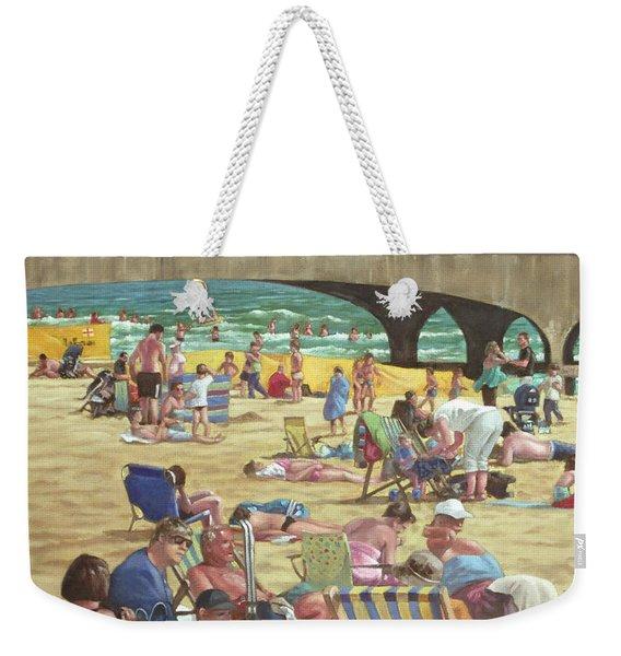 people on Bournemouth beach Weekender Tote Bag