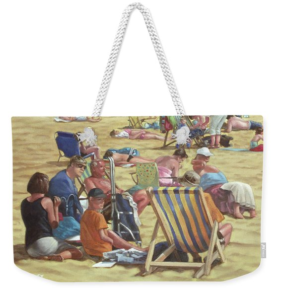 people on Bournemouth beach Weekender Tote Bag