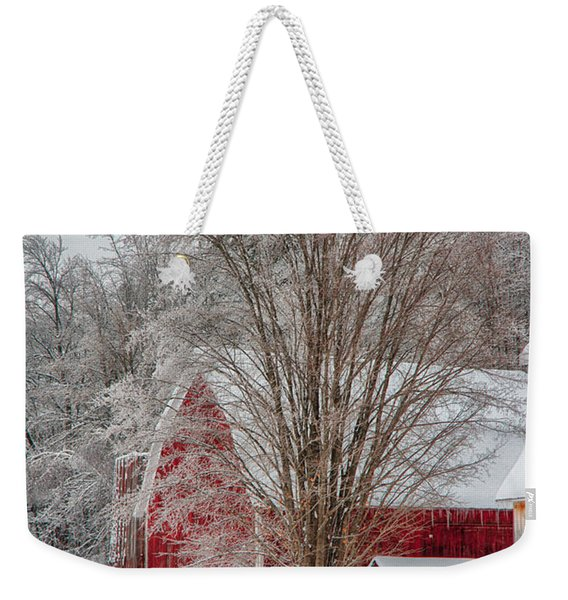 Weekender Tote Bag featuring the photograph Red Vermont Barn by Jeff Folger