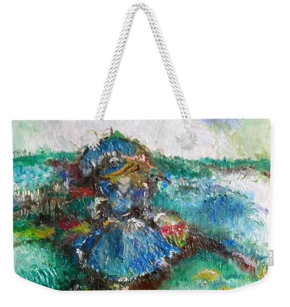 Weekender Tote Bag featuring the painting Roses For My Mother by Laurie Lundquist