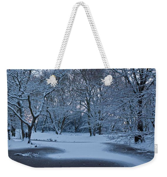 Snow Covered Trees In A Park, Hampstead Weekender Tote Bag