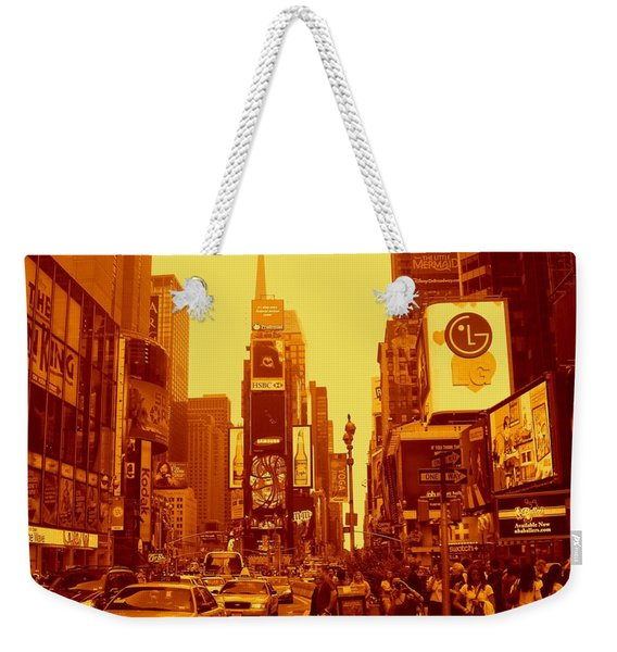 42nd Street And Times Square Manhattan Weekender Tote Bag