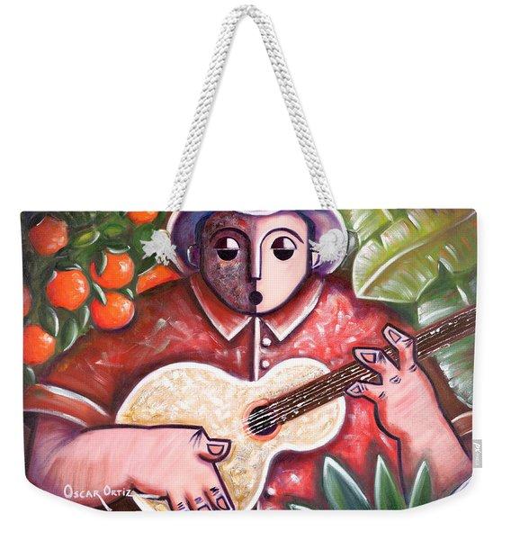 Weekender Tote Bag featuring the painting Trovando En Las Marias by Oscar Ortiz