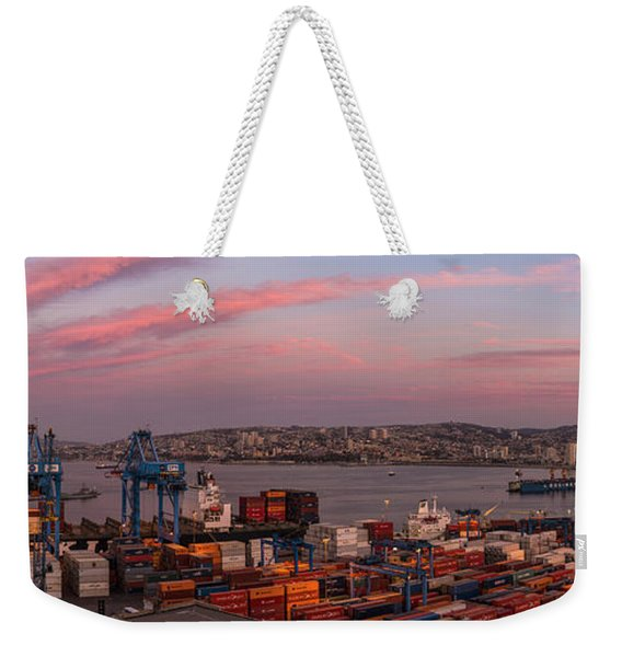 View Of City And Ports At Dawn Weekender Tote Bag