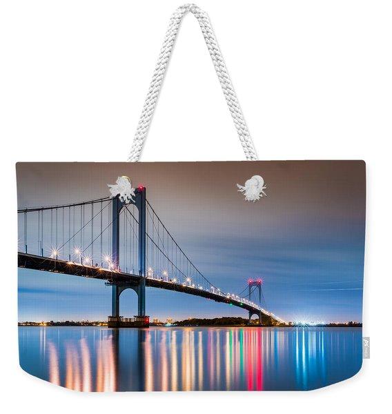 Weekender Tote Bag featuring the photograph Whitestone Bridge by Mihai Andritoiu
