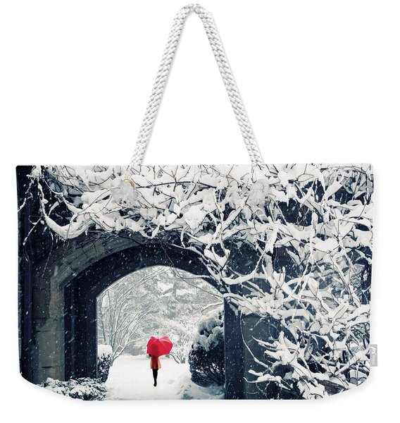Winter's Lace Weekender Tote Bag