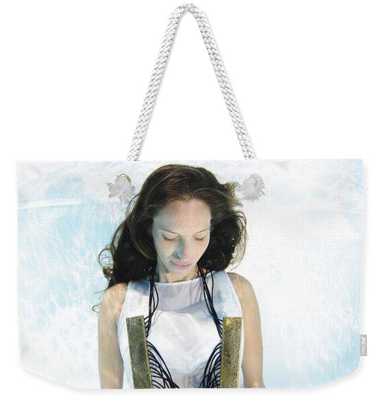 Woman Floats Underwater  Weekender Tote Bag