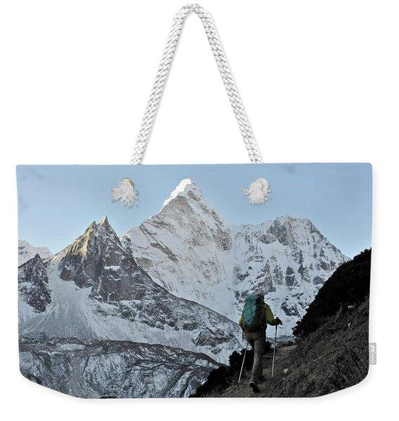 Woman Trekker In The Khumbu Region Weekender Tote Bag