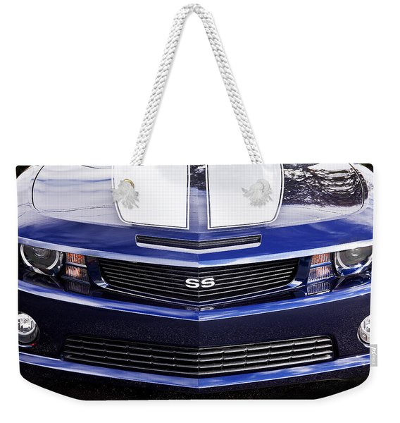 2012 Camaro Blue And White Ss Camaro Weekender Tote Bag