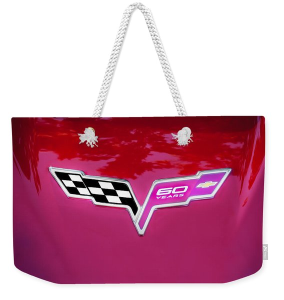 2013 Corvette 60th Anniversary Hood Logo Painted Weekender Tote Bag