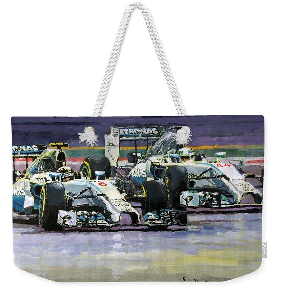2014 F1 Mercedes Amg Petronas  Lewis Hamilton Vs Nico Rosberg Weekender Tote Bag