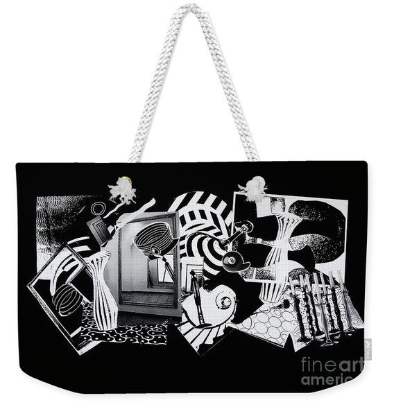 2d Elements In Black And White Weekender Tote Bag