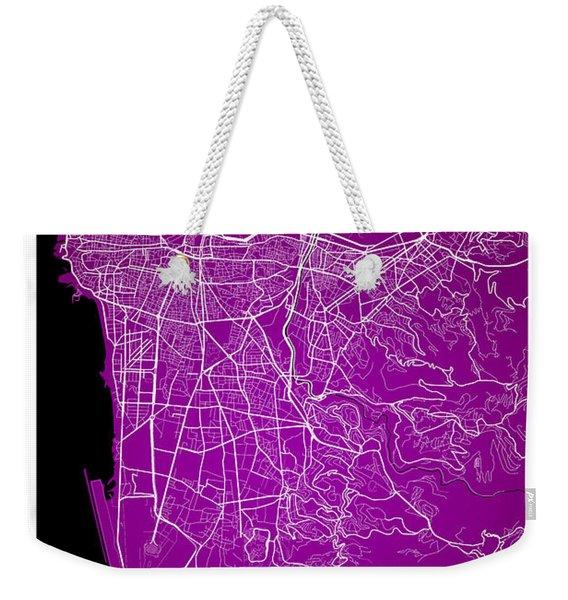 Beirut City Street Map - Beirut Lebanon Road Map Art On Color Weekender Tote Bag