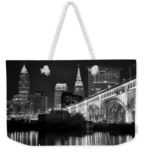 Black And White Cleveland Iconic Scene Weekender Tote Bag